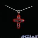 Collana con croce piccola stampo murrina rosso