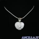 Collana con cuore piccolo stampo murrina bianco