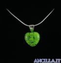 Collana con cuore piccolo stampo murrina verde