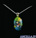 Collana con ovale stampo murrina multicolore