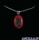 Collana con ovale stampo murrina rosso