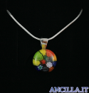 Collana con tondo stampo murrina multicolore