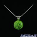 Collana con tondo stampo murrina verde