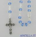 Collana Rosario 5 decine cristallo sfaccettato azzurro