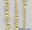 Corona del Rosario argento 925°/°° placcato oro grani 3 mm