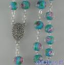 Corona del Rosario celeste in cristallo con rosellina e decorazioni oro