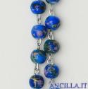 Corona del Rosario con grani in pasta di pietra blu