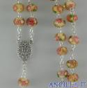 Corona del Rosario gialla in cristallo con rosellina e decorazioni oro