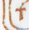 Corona del Rosario legno d'ulivo tondo su corda