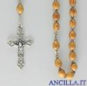 Corona del Rosario legno d'ulivo venato grani ovali