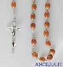 Corona del Rosario legno su catena grani ovali 6x8 naturale chiaro