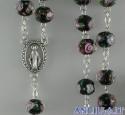 Corona del Rosario nera in cristallo con rosellina e decorazioni oro
