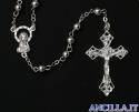 Corona del Rosario rilegata in rame con grani in plastica argentata