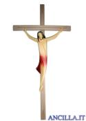 Corpo di Cristo stilizzato (rosso) su croce diritta moderna chiara