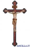 Cristo San Damiano finitura antica e manto oro su croce antichizzata barocca