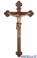 Cristo San Damiano finitura antica e manto oro su croce brunita barocca