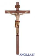 Cristo San Damiano finitura antica e manto oro su croce diritta
