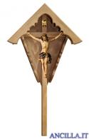 Croce da giardino in legno d'abete con Crocifisso Nazareno dipinto a olio (blu)
