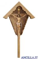 Croce da giardino in legno d'abete con Crocifisso Nazareno dipinto a olio (bianco)