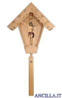 Croce da giardino in legno di larice con Crocifisso Nazareno dipinto a olio (rosso)