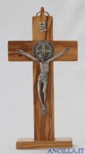 Croce Medaglia di San Benedetto in legno d'olivo con base