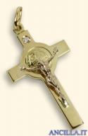 Croce-medaglia di San Benedetto oro 18kt e diamante