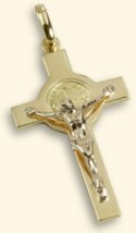 Croce-medaglia di San Benedetto oro 18kt