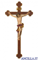 Crocifisso Barocco su croce barocca (rosso)