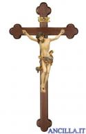 Crocifisso Leonardo anticato oro zecchino - croce barocca scura