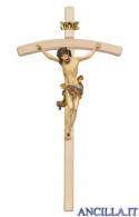 Crocifisso Leonardo anticato oro zecchino - croce curva chiara