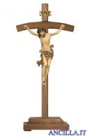 Crocifisso Leonardo anticato oro zecchino - croce curva con base