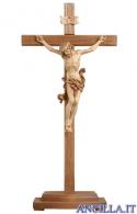 Crocifisso Leonardo brunito 3 colori - croce diritta con base