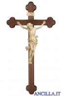 Crocifisso Leonardo cerato filo oro - croce barocca scura