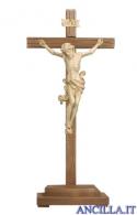 Crocifisso Leonardo cerato filo oro - croce diritta con base