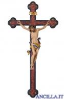 Crocifisso Leonardo dipinto a olio - croce anticata barocca