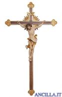Crocifisso Leonardo dipinto a olio - croce barocca con raggi