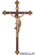 Crocifisso Leonardo dipinto a olio - croce barocca