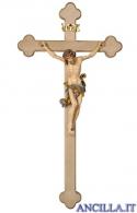 Crocifisso Leonardo dipinto a olio - croce brunita barocca