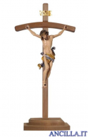 Crocifisso Leonardo dipinto a olio - croce curva con base
