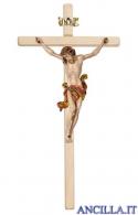 Crocifisso Leonardo dipinto a olio - croce diritta chiara