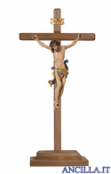 Crocifisso Leonardo dipinto a olio - croce diritta con base