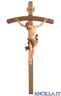 Crocifisso Leonardo in resina con croce curva