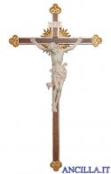 Crocifisso Leonardo naturale - croce barocca con raggi