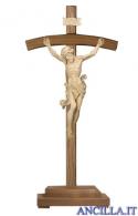 Crocifisso Leonardo naturale - croce curva con base
