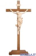 Crocifisso Leonardo naturale - croce diritta con base