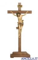 Crocifisso Leonardo anticato oro zecchino - croce diritta con base