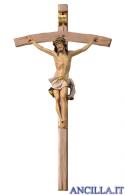 Crocifisso Nazareno dipinto a olio (bianco) - croce curva