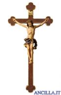 Crocifisso Nazareno dipinto a olio (blu) - croce barocca