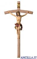Crocifisso Nazareno dipinto a olio (rosso) - croce curva