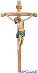 Crocifisso Raffaello dipinto a olio (blu) - croce curva chiara